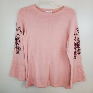 Susan Graver Pink Embroidered Sweater Small